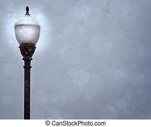 A lamp post in a snow storm  room for copy space