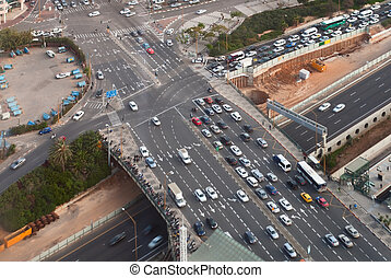 Road junction - Birdseye view of the road junction in Tel...