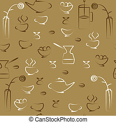 Coffee pattern - Seamless drawing on a theme cafe
