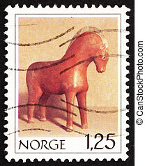 Postage stamp Norway 1978 Wooden Horse - NORWAY - CIRCA...
