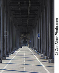 Under the bridge - Paris, the bridge above is for undeground...