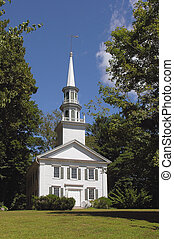 White country church - White American country church on a...