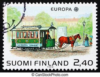 Postage stamp Finland 1988 Horse-drawn tram - FINLAND -...