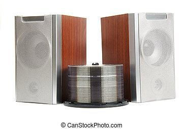 Two Wooden music loudspeakers isolated on white