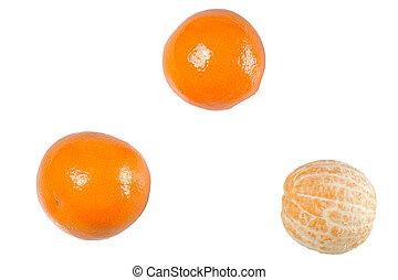 Set of three Mandarin orange isolated on white