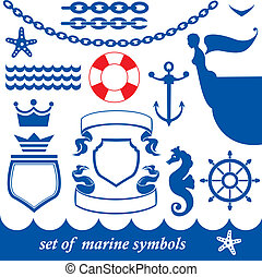 Set of marine elements - chain, anchor, crown, shield,...