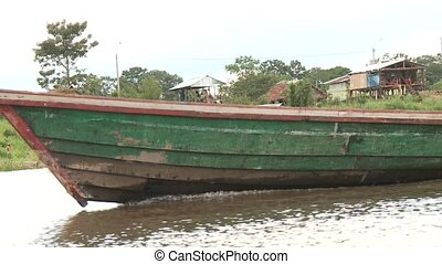 Boat At Amazon River Near Slums - Slums At Amazon River,...