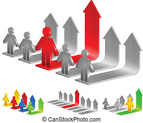 arrows and person - Color diagram for business with arrows...
