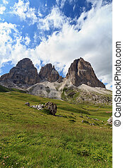 Langkofel - Sassolungo mountain - Sassolungo mount on summer...