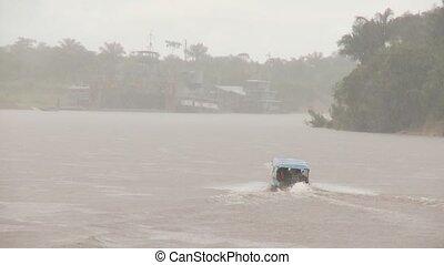 Boat and heavy Rain, Amazon - Rain in Amazon Area