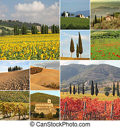 collage with fantastic tuscan landscape - in four seasons...