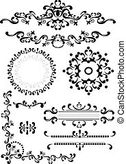 Decorative corner, border, frame - Black ornament...
