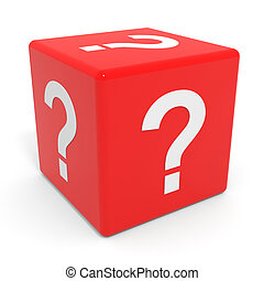 Red cube with question mark Computer generated image