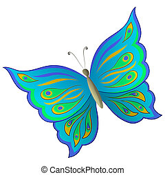 Butterfly with beautiful multi-coloured wings on a white...
