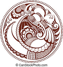 Abstract phoenix bird. Vector mehndi pattern