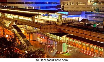 TimeLapse Aerial subway, Bangkok - Ekkamai BTS Station,...
