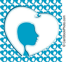 silhouette of head with hearts. valentines background