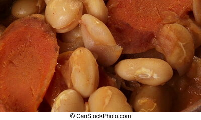 Beans with carrots. Food, lunch.