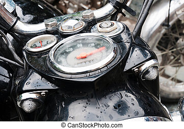 Motorbike speedometer and headlights with moisture inside