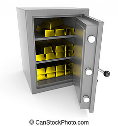 Safe with gold bars.