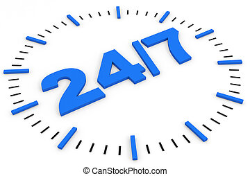 Clock. 24/7 avaliable. Computer generated image.