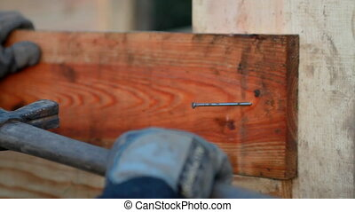 A carpenter fix a nail with hammer - A carpenter fix a nail...