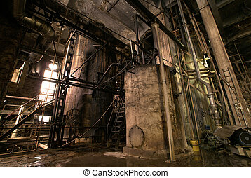 Old abandoned factory - old creepy dark decaying dirty...