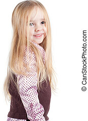 Portrait of little cute girl with long hair