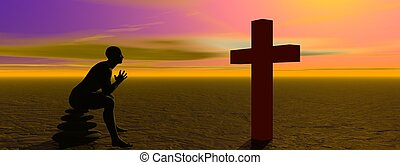 man praying and cross