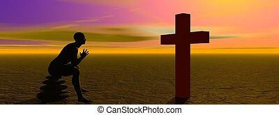 man praying and cross