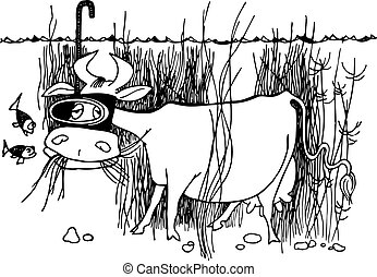 Underwater cow - Cow wearing snorkel eating grass underwater