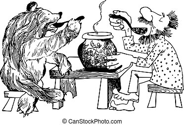 Eating with bear - Man and bear having dinner together