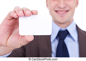 business man holding a blank card