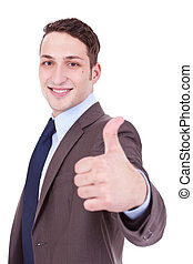 business man going thumbs up