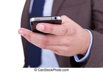 Flat cell phone in businessman hand - Flat cell phone in...