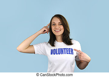 Happy volunteer girl on blue background - Happy and smart...