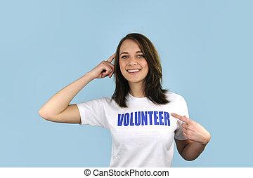 Feliz, voluntário, menina, azul, fundo