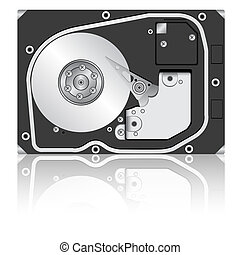 Computer hard disk drive. Vector illustration.