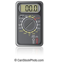 Digital multimeter. Vector illustration. Isolated on white...