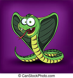 Funny cartoon cobra Vector illustration