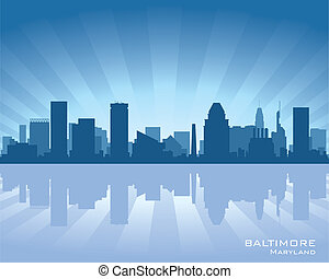 Baltimore skyline - Baltimore, Maryland skyline illustration...