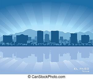 El Paso skyline - El Paso, Texas skyline illustration with...