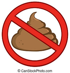 Stop Poop Sign Cartoon Character