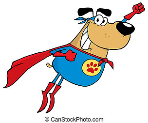 Brown Super Hero Dog Flying Cartoon Character
