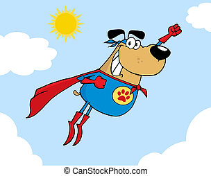 Brown Super Hero Dog Flying In Sky Cartoon Character