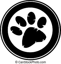 Black Paw Print Banner Cartoon Character