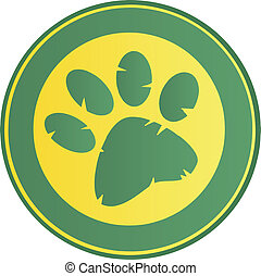 Green Paw Print Banner Cartoon Character