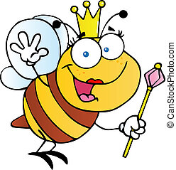 Friendly Queen Bee Cartoon Character