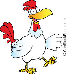 Happy Rooster Walking And Waving Cartoon Character