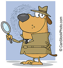 Detective Dog Holding A Magnifying Glass With Fingerprint...